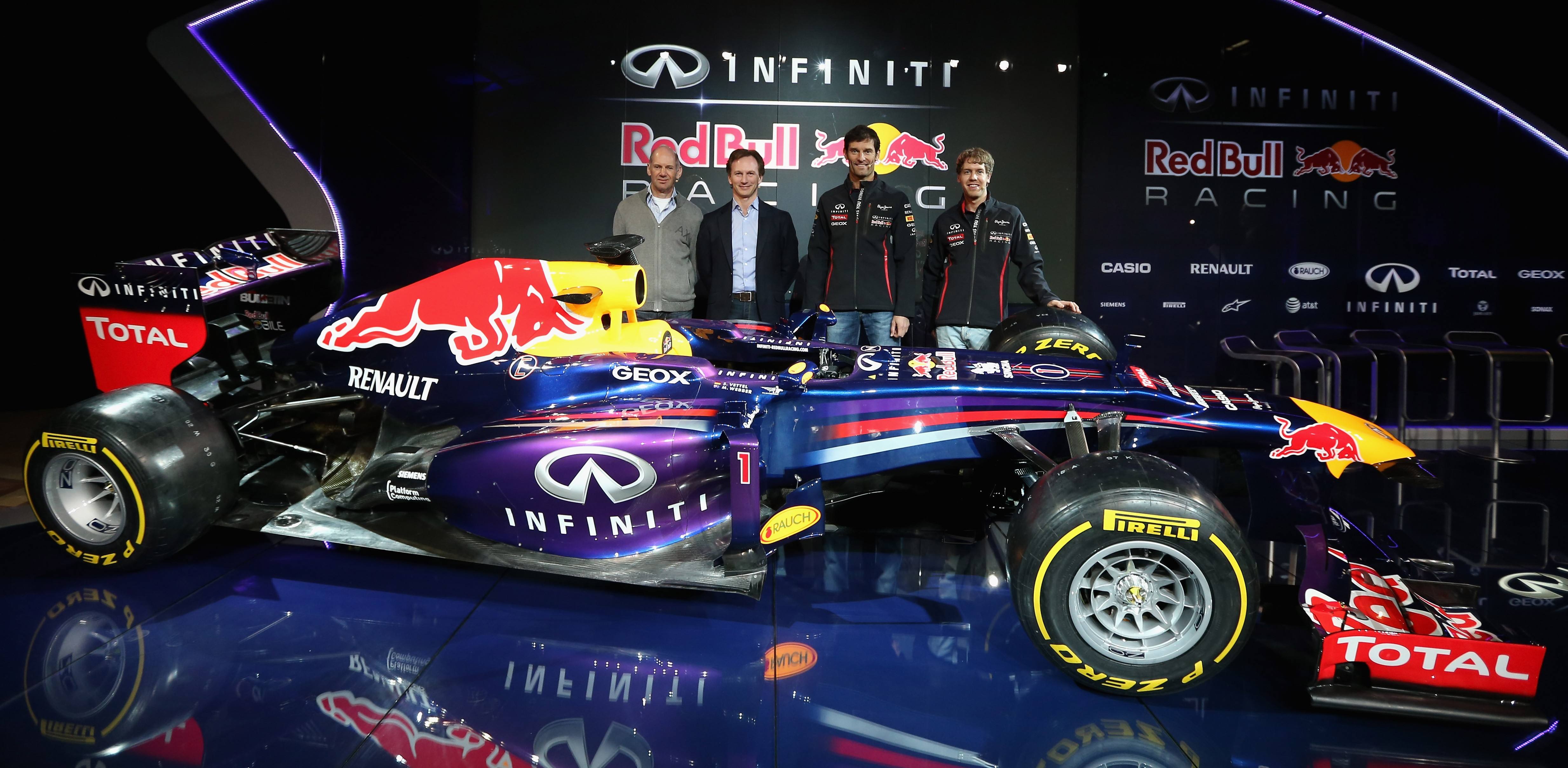 during the Infiniti Red Bull Racing RB9 launch on February 3, 2013 in Milton Keyenes, England.